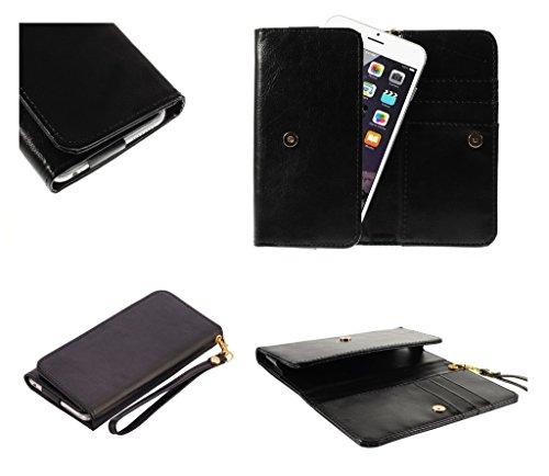 DFVmobile - Etui Tasche Schutzhülle aus Kunstleder Pferden-Leder-Mappen-Kasten mit Kartenfächer für JIAYU G2F - Schwarz