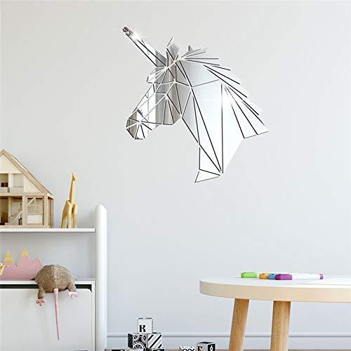 Silber Kunst Wanddekoration Einhorn 3D Acryl Spiegel Wandaufkleber DIY Kreative TV Hintergrund Wand Kinderzimmer Dekoration Wohnkultur 38 * 40 cm
