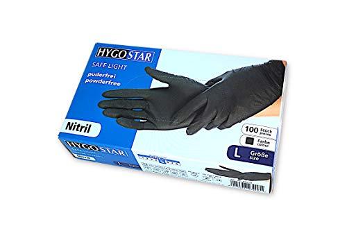 HYGOSTAR Nitril-Einweghandschuhe, Safe Light, Einmalhandschuhe, Untersuchungshandschuhe, Gr. L, 100 Stück pro Box, puderfrei, allergiefrei, unsteril, Einmalhandschuhe, Farbe: schwarz