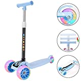 HIYUTOY Kick Scooter 3 Wheel Scooter,Adjustable Height Kids Scooter,Lean to Steer with Extra-Wide PU LED Light Up Wheels,for Boys & Girls from 3 to 12 Years Old (Blue)