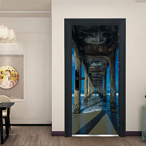 WZKED 3D Puerta Pegatina Pared Puente Azul Marino Calcomanía De Vinilo Extraíble DIY Autoadhesiva Etiqueta De Puerta Murales para Cocina Sala De Baño Decorativos 77X200Cm