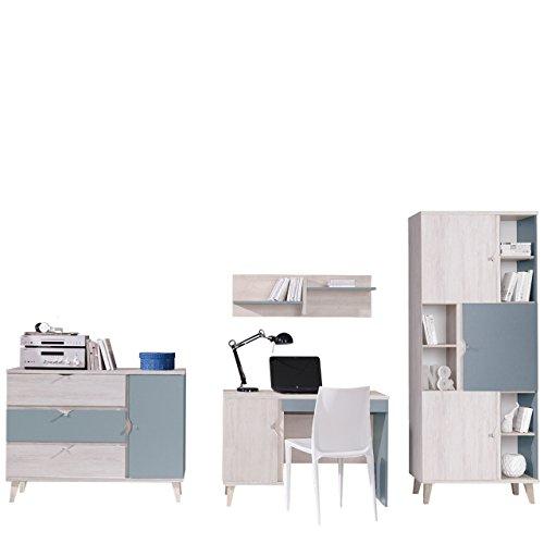 Kinderzimmer Set Memone V, 4-TLG. komplett, Wandregal, Schreibtisch, Kommode, Regal Farbauswahl (Eiche Weiß/Busk Blue)