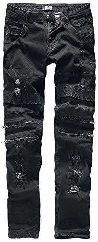 Rock Rebel by EMP Jared Homme Jean Noir W36L34, 98% Coton, 2% Élasthanne, Slim Fit