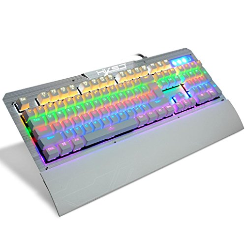 Dreamyth 2017 HXSJ 2600 LED Backlight USB Ergonomic Gaming Gamer Mechanical Keyboard Affordable (White)