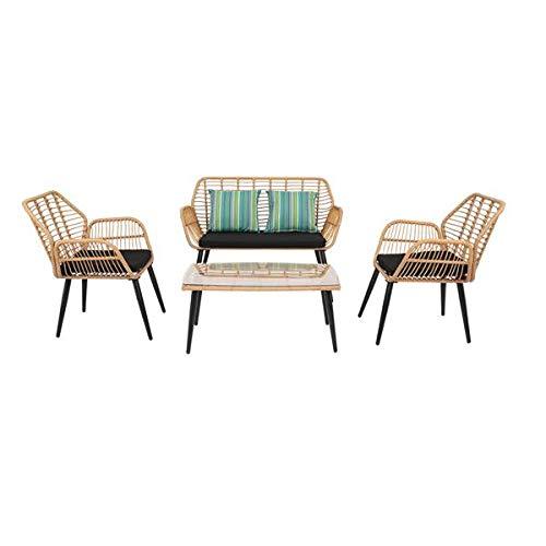 N\C PE Steel Outdoor Wicker Rattan Chair Four-Piece Patio Furniture Set Yellow
