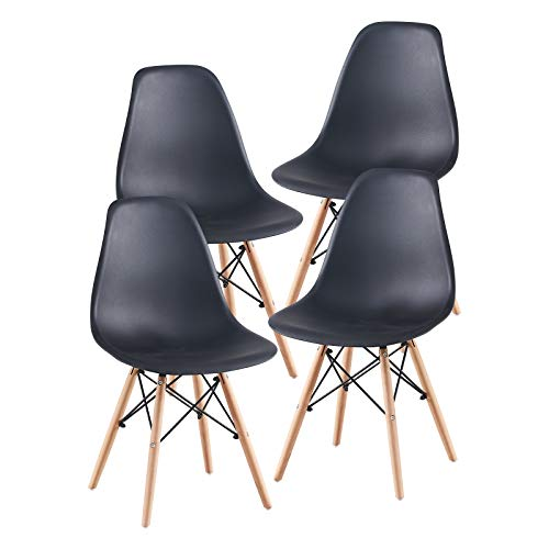 CNECYW Black Dining Chairs Set of 4,Mid-Century Side Chair with Natural Wood Legs for Kitchen,Dining,Bedroom,Living Room,Set of 4,Black