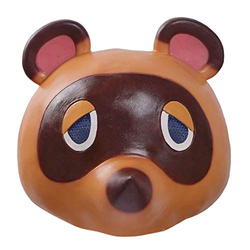 DOUJIONG Cartoon Animal Tom Nook Cosplay Costume Raccoon Full Face Mask Halloween (One Size, Brown)