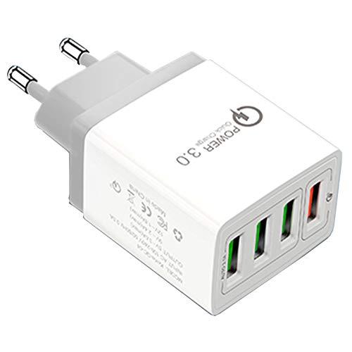 QueenDer Quick Charge 3.0 USB Cargador de Red 4 PuertosCargador Móvil para iPhone Samsung Android Smartphones Tablet y Otros (White)