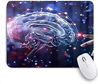 GUVICINIR マウスパッド 個性的 おしゃれ 柔軟 かわいい ゴム製裏面 ゲーミングマウスパッド PC ノートパソコン オフィス用 デスクマット 滑り止め 耐久性が良い おもしろいパターン (手に触れる脳ネットワーク接続)