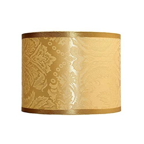 GING Abat-jour rond en tissu baroque Beige E14 Design cylindrique pour lampe de table