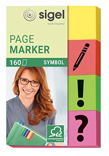 SIGEL HN635 Haftmarker Pfeile aus Papier, 160 Streifen im Format 20 x 50 mm, gelb/orange/grün/pink