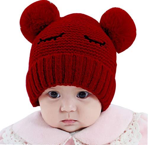FEOYA - Enfants Bonnet Tricoté Chaude Hiver Garçon Fille Bébés Chapeau en Maille Côtelée Beanie Pompom Earflap Doublure Doux Automne - Rouge