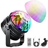 Discokugel LED, 2-In-1 Musikgesteuert Discolicht Partylicht mit Stimmungslichtmodus, 7 Farbe Timer und dimmbarer Funktion, Party Lampe ür Kinder, Familientreffen, Weihnachtsfeier
