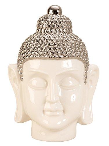 Lifestyle & More Moderne Skulptur Buddha Kopf aus Porzellan in weiß/Silber Höhe 24,5 cm