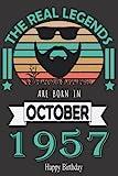The Real Legends Are Born In 1957 Happy Birthday: funny 64th birthday present idea for women men mom dad Dautgher Son Wife Husband Grandpa Grandma , ... ... 64th Anniversary Gift Card Alternative