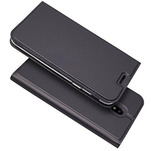 Copmob Coque Samsung Galaxy J7 2017,Premium Ultra Mince en Cuir PU Housse à Rabat,[Fermoir Magnétique][Fente pour Carte][Antichoc TPU],Housse Etui pour Samsung Galaxy J7 2017 - Noir