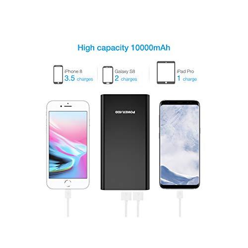 POWERADD Batterie Externe 10000mAh Pilot 2GS avec Deux Port USB 3,1A Charge Ultra Rapidement Chargeur de Secours pour Samsung Huawei iPhone et Tous les Autres Smartphons - Noir