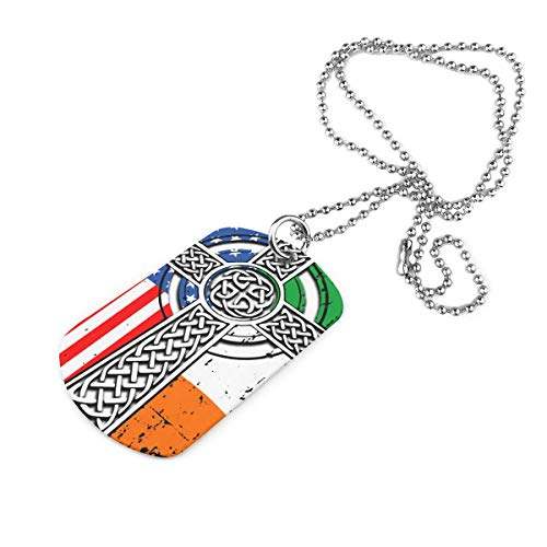 Weitaoying Irish American USA Flag Celtic Cross St Patrick's Day Classic Mens Military Necklace Army Name Dog Tag Pet Card Keychain Pendant Necklace with 23 Inches Ball Chain
