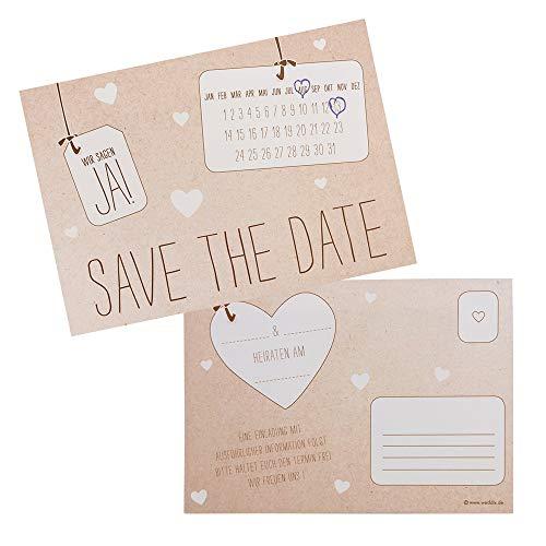 weddix 10 er Set Save The Date Karten für die Hochzeit im Kraftpapier Optik mit Herzen - praktisches Postkarten Design im rustikalen Vintage Look