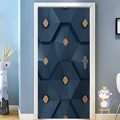 LLWYH Türaufkleber Türtapete 3D Stereo Blue Hexagon Wasserdicht Selbstklebend Wandbild Türfolie Türposter Fototapete 95 x 215 cm