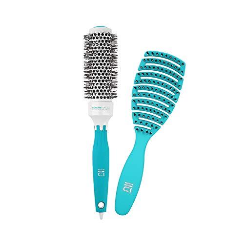 T4B ILU Set Brosses A Cheveux 1 Brosse Démêlante Et 1 Brosse Coiffante (Turquoise)