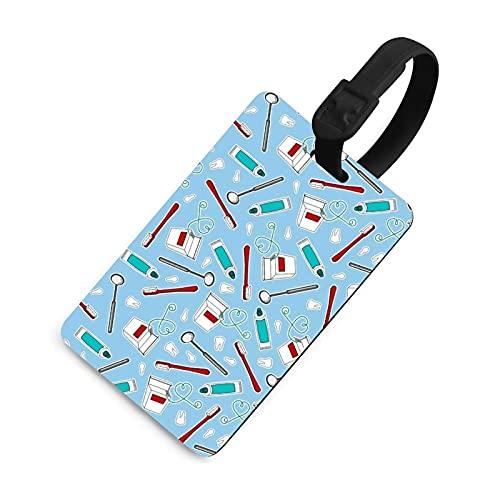 Etiqueta de equipaje suave para mujer, etiquetas identificadoras de bolsa con cubierta de privacidad, accesorios de etiqueta de viaje para maleta, avión, mochilas, estampado de dentista, color azul