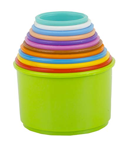 TOY FUN Fair Plastic Build Up Beakers Stacking and Nesting Toy for Kids, Multicolour – 12 Pieces