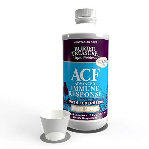 Buried Treasure ACF Advanced Immune Response with 1,000 mg Vitamin C, Elderberry, Echinacea and Herbal Blend for Daily Immune System Support Supplement, 16 oz. with Dose Cup Buried Treasure Vitamin C Vitamins