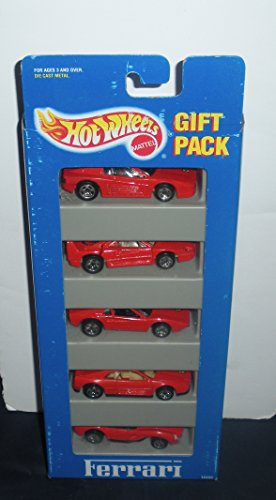Hot Wheels Ferrari 5 Car Gift Pack-1994 All Color Red-ferrari Testarossa, Ferrari F40, Street Beast, Ferrari 348, Ferrari 250