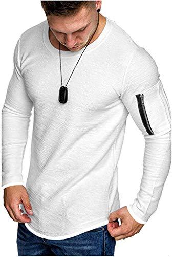 COOFANDY Men's Long Sleeve Seamless Pullover Sweatshirt Lightweight Active Jogging Running Workout Muscle Shirts White