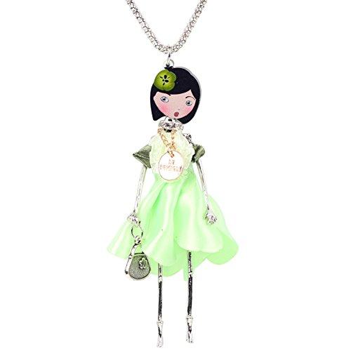 Collana Bambolina con vestito in Verde
