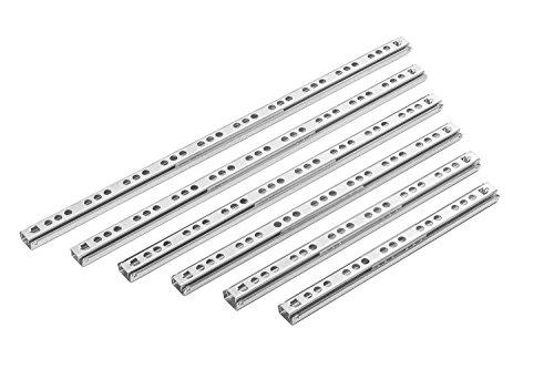 Gedotec Kugelauszug seitlich Schubladenschienen 17 mm Teleskopschiene Teilauszug für Schubladen | Länge: 310 mm | Teleskopauszug mit Tragkraft 15 kg | Auszugsschienen zum Schrauben | 10 Paar - Auszüge