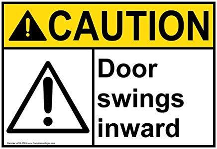 ANSI waarschuwing deur schommels naar binnen teken, grappige Wanring tekenen, Gate teken, vandaar Yard teken, 8