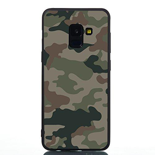 HopMore Silicone Coque pour Samsung Galaxy A6 Plus (A6+) 2018 Noir Étui Motif Drôle Créatif TPU Souple Etui Antichoc Protection Ultra Mince Case Housse Fine pour Fille Femme Homme - Armée Verte