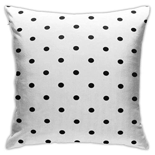 Cup Off Funda de Almohada con diseño de Lunares, Negro, Blanco, círculo Abstracto, gráfico, Cuadrado, Decorativo, Funda de Almohada para sofá, Dormitorio, Coche