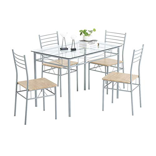 WWJL Iron Glass Dining Table and Chairs Silver One Table, with Four Chairs MDF Cushion, for Kitchen Dining Room Furniture [110 x 70 x 76cm],1