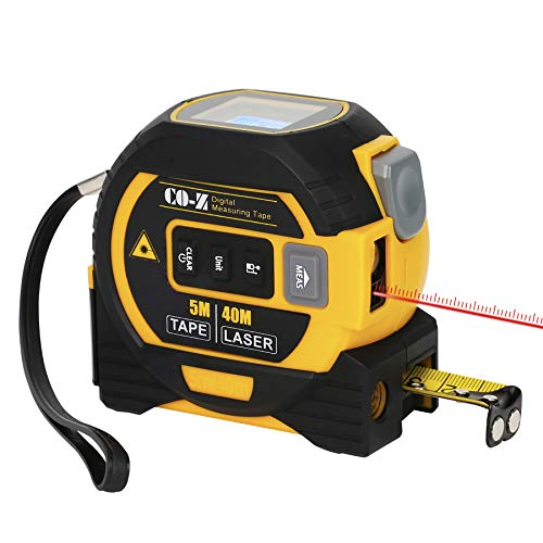 CO-Z 3 In 1 Digital Metric Laser Tape Measure, 5m Tape Measure 40m Laser Measure and 10m Cross Line, Laser Measuring Magnetic Tape with Laser Level, Electronic Tool Lazer Measurement for Long Distance