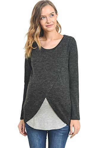 Hello MIZ Women's Maternity Sweater Nursing Top - Made in USA (Small, Mauve/Ivory)