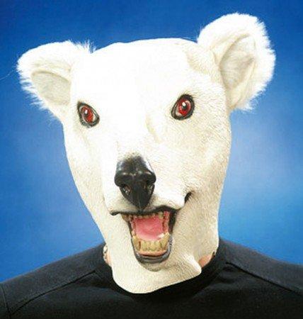 Orlob Maske Eisbär Tiermaske zum Bär Kostüm Karneval Fasching