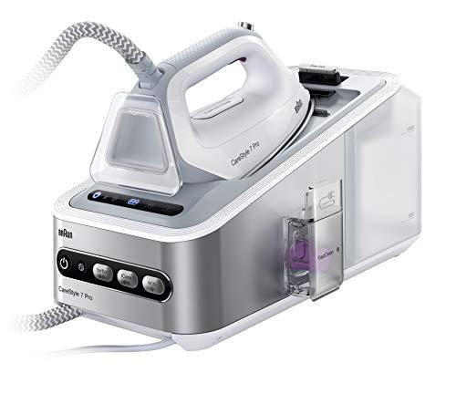 Braun IS7155WH Carestyle 7 - Centro de Planchado (2400W. 125g/min, golpe de vapor 500g/min, suela bidireccional Eloxal 3D Plus, Tecnologia iCare, sistema FastClean, blanco y gris)