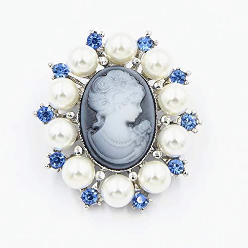 DREAMDEER Broche Pin Moda Perla Dama Vintage Cameo Estilo Victoriano
