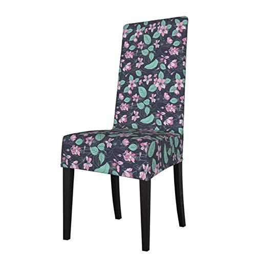 Takashimo Funda protectora para silla de comedor elástica con diseño de cerezo con dibujos animados, funda protectora para silla de comedor
