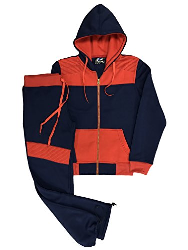 Royal Threads Canada Women's Biker Accent Trendy Fleece Sweat Pants and Sweat Jacket Active Sportswear Sweatsuit (Navy/Red, L)
