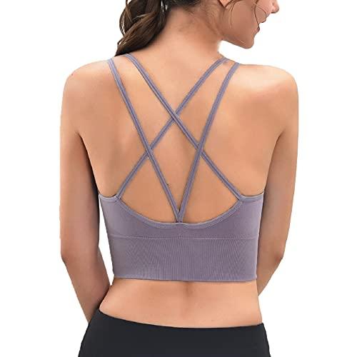 Voqeen Sujetador Deportivo con Almohadillas Extraíbles Correas de Hombro Cruzadas Sujetador de Camisola para Mujer para Yoga/Fitness/Ejercicio (Gris, XL)