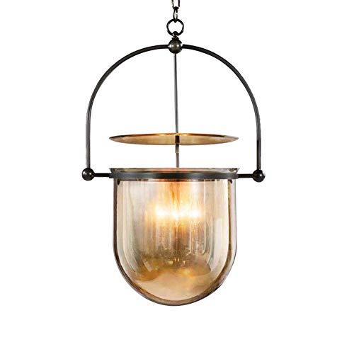 KMMK Novely Chandeliers-Chandelier E14 * 3 Lámparas colgantes Lámparas colgantes de metal de hierro negro Lámparas colgantes de vidrio ámbar Lámpara colgante Lámpara colgante de alta calidad Librería