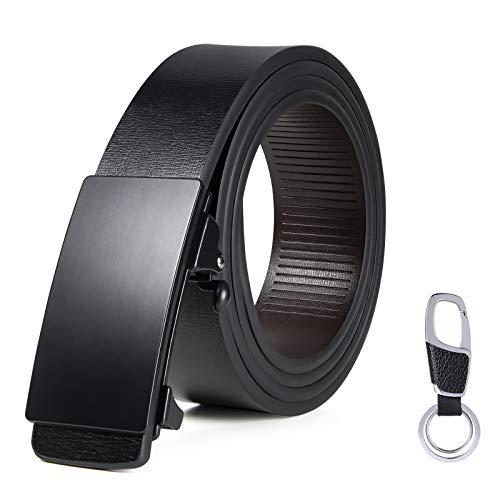flintronic Herren Gürtel, Leder Ratsche Automatik Gürtel für Männer Unsichtbarer Gürtelschwanz Ledergürtel Breite 3.5cm Länge 125CM (inkl Schlüsselbund & Geschenkbox)