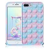 STSNano Blue Heart Silicona Casos Fidget para iPhone 6 Plus/6S Plus/7 Plus/8 Plus 5.5' para Chicas Niñas Mujer Funda Diseño de Gracioso Elegante Burbuja Moda Vistoso para iPhone 6/6S/7/8 Plus 5.5'