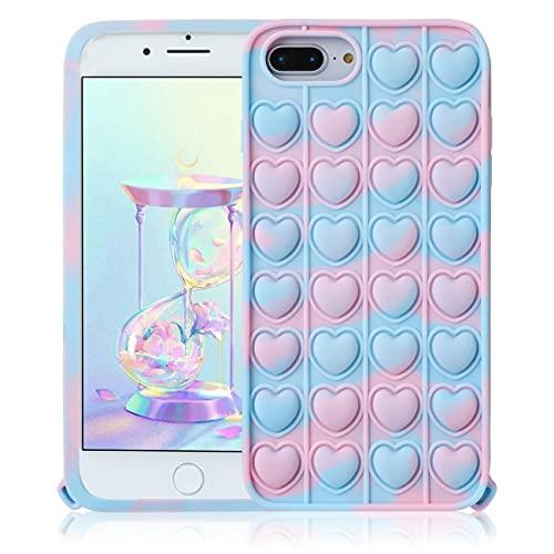 STSNano Blue Heart Cover Custodia Silicone Fidget per iPhone 6 Plus/6S Plus/7 Plus/8 Plus 5.5' per Bambini Ragazze Ragazzi Casi Carattere Fun Carino Fantastico Cool Unico per iPhone 6/6S/7/8 Plus