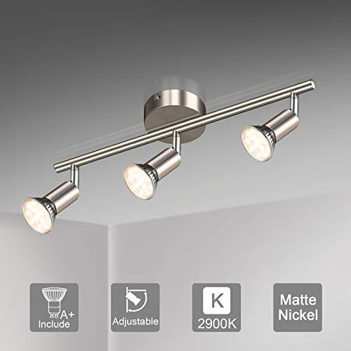 Unicozin LED Deckenleuchte, 3 Flammig LED Deckenstrahler Schwenkbar, Inkl. 3 x 3.5W GU10 LED Lampen, 380LM, Warmweiß, LED Deckenspot LED Deckenlampe, Matte Nickel