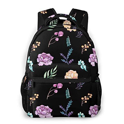 Bookbag Cute Girly Flowers Nature Floral Hombres y Mujeres Estilo Casual Mochila de Lona Mochila Escolar,